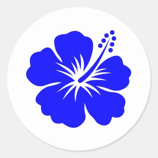 A blue hibiscus flower round sticker