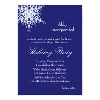 A Blue Holiday Offset Snowflake Invitation