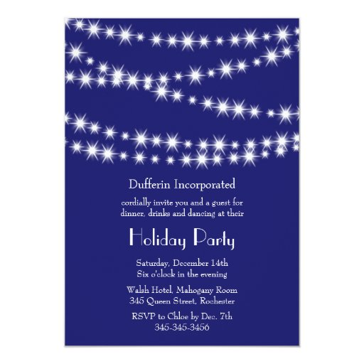 A Blue Holiday Twinkle Lights Invitation (indigo)