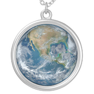 A Blue Marble Image of the Planet Earth Silver Plated Necklace