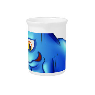 A blue monster exercising alone beverage pitchers