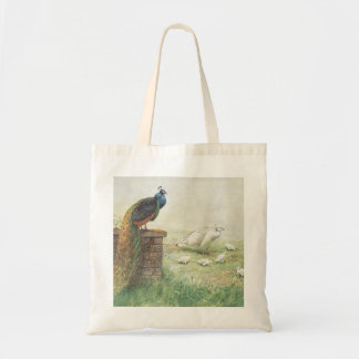 A Blue Peacock and white peahen with chicks Canvas Bag