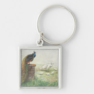A Blue Peacock and white peahen with chicks Keychain