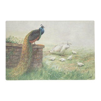 A Blue Peacock and white peahen with chicks Placemat