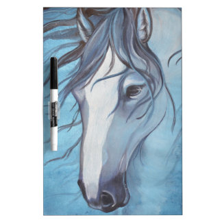 A blue roan horse in the wind Dry-Erase boards