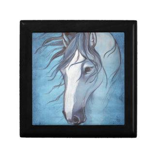 A blue roan horse in the wind keepsake box