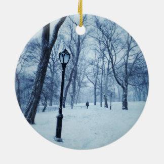 A Blustery Walk In The Park Ceramic Ornament