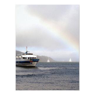 A Boat And A Rainbow Custom Invitations