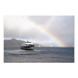 A Boat And A Rainbow Photo Print