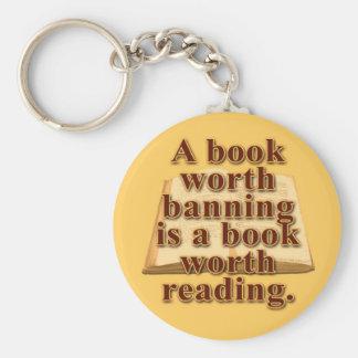 A Book Worth Banning Button Keychain