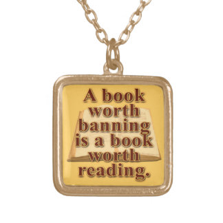 A Book Worth Banning Square Necklace