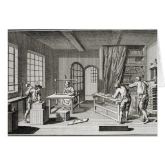 A bookmaker's workshop, from the 'Encyclopedie des Card