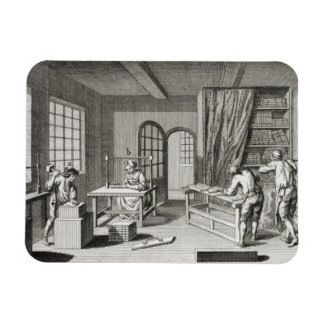 A bookmaker's workshop, from the 'Encyclopedie des Rectangular Photo Magnet