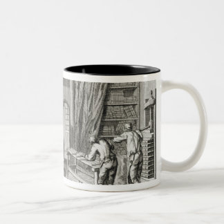 A bookmaker's workshop, from the 'Encyclopedie des Two-Tone Coffee Mug