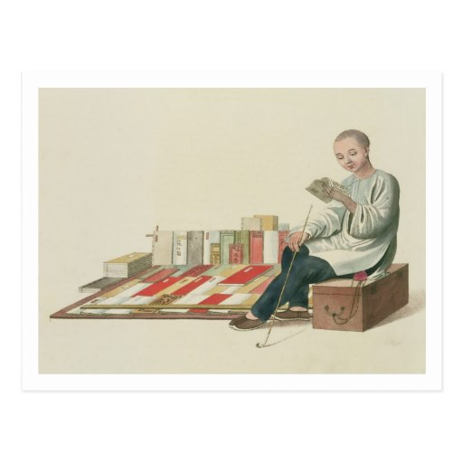 A Bookseller, plate 6 from 'The Costume of China', Postcard