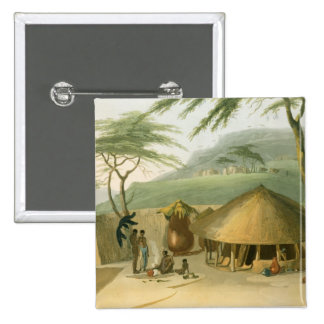 A Boosh-Wannah Hut, plate 7 from 'African Scenery Pinback Button