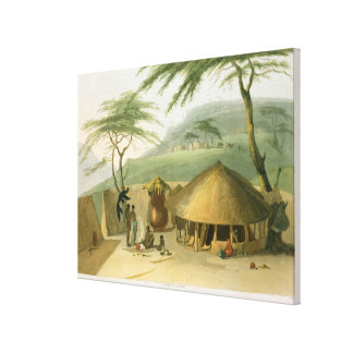 A Boosh-Wannah Hut, plate 7 from 'African Scenery Canvas Print