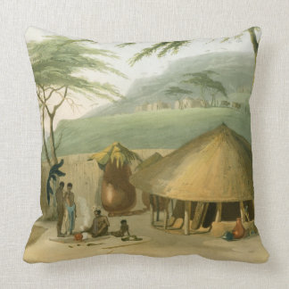 A Boosh-Wannah Hut, plate 7 from 'African Scenery Throw Pillows