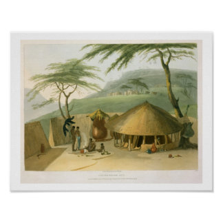 A Boosh-Wannah Hut, plate 7 from 'African Scenery Poster