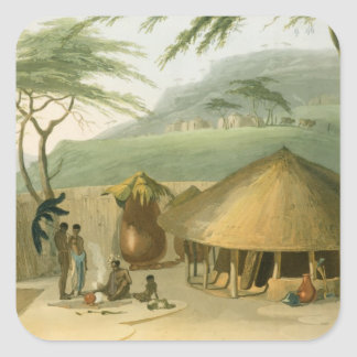 A Boosh-Wannah Hut, plate 7 from 'African Scenery Square Sticker