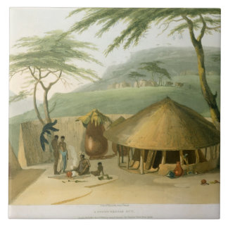 A Boosh-Wannah Hut, plate 7 from 'African Scenery Tile