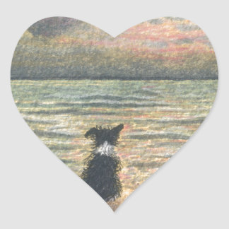 A Border Collie dog says hello to the morning Heart Sticker