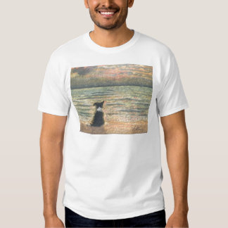 A Border Collie dog says hello to the morning T-shirt
