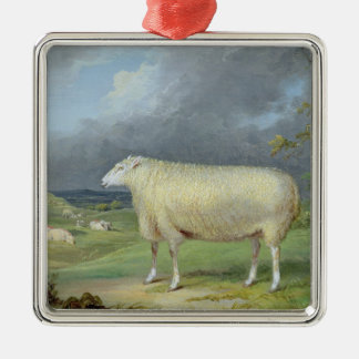 A Border Leicester Ewe (oil on canvas) Metal Ornament