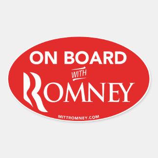 A bordo con el pegatina del óvalo de Mitt Romney