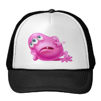 A bored three-eyed pink monster trucker hat