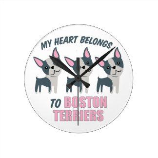 A Boston Terrier Round Clocks