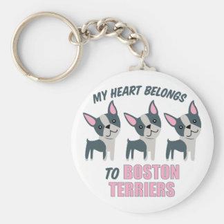 A Boston Terrier Basic Round Button Keychain