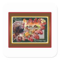 A Bountiful Thanksgiving Square Sticker