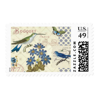 A Bouquet of Blue Flowers, Birds and Butterflies Postage