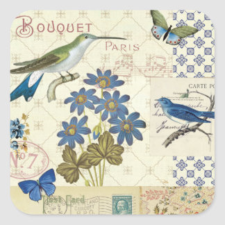 A Bouquet of Blue Flowers, Birds and Butterflies Square Sticker