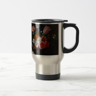 A Bouquet of Flowers in a Crystal Vase Travel Mug