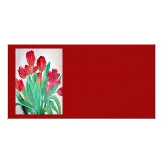 A Bouquet of Red Tulips Card
