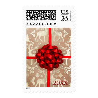 A bow and ribbon on Christmas wrapping paper Postage