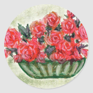 A Bowl of Roses Classic Round Sticker