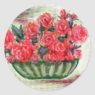 """A Bowl of Roses"" Classic Round Sticker"