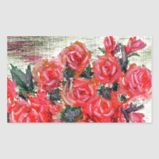 A Bowl of  Roses w/accents Rectangular Sticker