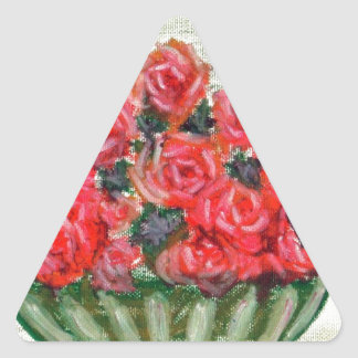 A Bowl of  Roses w/accents Triangle Sticker
