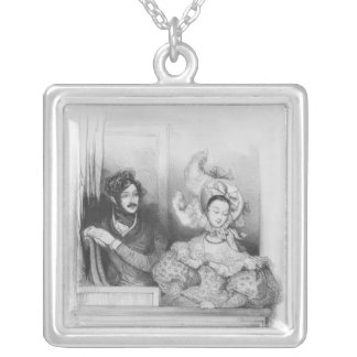 A box at the Theatre Italien, engraved by Frey Square Pendant Necklace