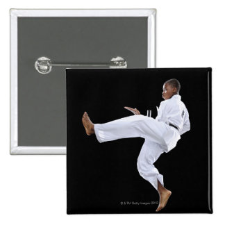 A Boy (15 Years Old) doing a front kick Pinback Buttons