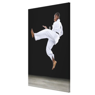 A Boy (15 Years Old) doing a front kick Canvas Print