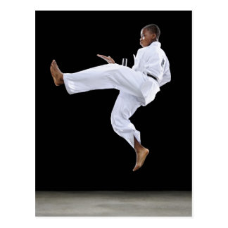 A Boy (15 Years Old) doing a front kick Postcard
