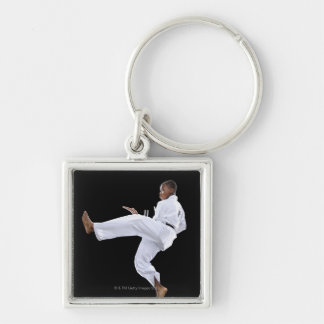A Boy (15 Years Old) doing a front kick Silver-Colored Square Keychain