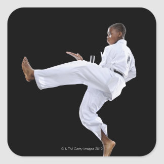 A Boy (15 Years Old) doing a front kick Square Sticker
