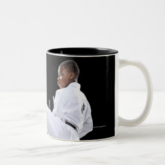 A Boy (15 Years Old) doing a front kick Two-Tone Coffee Mug