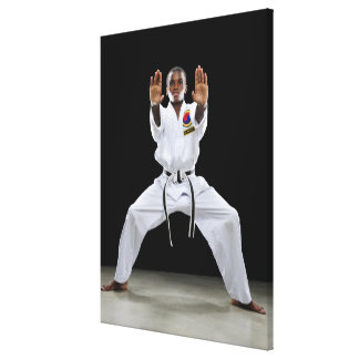A Boy (15 Years Old) in a Karate Uniform with Canvas Print